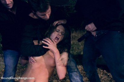 Photo number 1 from Amateur Does Double Anal in her First Porn Shoot Ever!  shot for Bound Gang Bangs on Kink.com. Featuring Kenzie Vaughn, James Deen, Dane Cross, Astral Dust and John Strong in hardcore BDSM & Fetish porn.