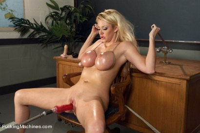 Photo number 10 from Luscious GIANT Breasts Tied, Clamped, Fucked and Oiled UP shot for Fucking Machines on Kink.com. Featuring Courtney Taylor in hardcore BDSM & Fetish porn.
