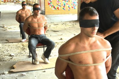 Photo number 11 from World Premier of the Visconti Triplets in Bondage  shot for Men On Edge on Kink.com. Featuring Jason Visconti, Jimmy Visconti and Joey Visconti in hardcore BDSM & Fetish porn.