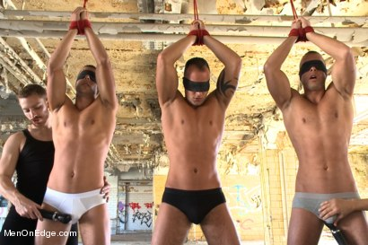 Photo number 3 from World Premier of the Visconti Triplets in Bondage  shot for Men On Edge on Kink.com. Featuring Jason Visconti, Jimmy Visconti and Joey Visconti in hardcore BDSM & Fetish porn.