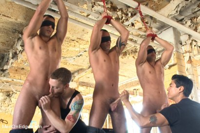 Photo number 4 from World Premier of the Visconti Triplets in Bondage  shot for Men On Edge on Kink.com. Featuring Jason Visconti, Jimmy Visconti and Joey Visconti in hardcore BDSM & Fetish porn.