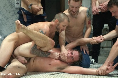 Photo number 9 from The Victim Game - BIP doms turn on one of their own shot for Bound in Public on Kink.com. Featuring Will Jasper, Brenn Wyson, John Jammen and Master Avery in hardcore BDSM & Fetish porn.