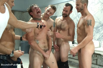 Photo number 12 from The Victim Game - BIP doms turn on one of their own shot for Bound in Public on Kink.com. Featuring Will Jasper, Brenn Wyson, John Jammen and Master Avery in hardcore BDSM & Fetish porn.