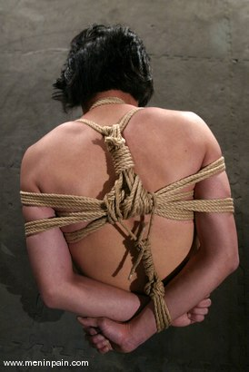 Photo number 12 from Men In Pain Bondage Tutorial<br><br>Part 3: JAPANESE ROPE HARNESS with CROSS LEGGED BONDAGE shot for Men In Pain on Kink.com. Featuring Scott Lee in hardcore BDSM & Fetish porn.