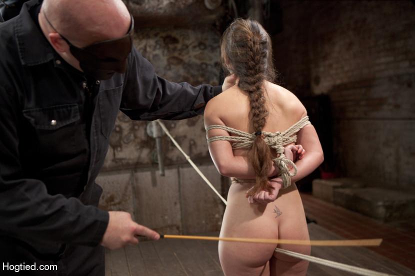 Hogtied male bdsm rope bondage
