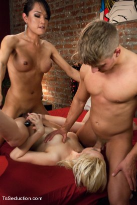 Photo number 12 from Who's Afraid of Jessica Fox? The Evil Neighbour Sequel Threesome shot for TS Seduction on Kink.com. Featuring Logan Vaughn, Alice Frost and Jessica Fox in hardcore BDSM & Fetish porn.