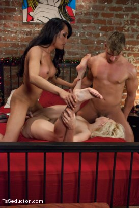 Photo number 5 from Who's Afraid of Jessica Fox? The Evil Neighbour Sequel Threesome shot for TS Seduction on Kink.com. Featuring Logan Vaughn, Alice Frost and Jessica Fox in hardcore BDSM & Fetish porn.
