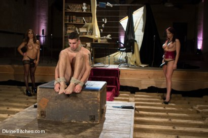 Photo number 5 from Two FEMDOM MILFs destroy 21 year old slaveboy! shot for Divine Bitches on Kink.com. Featuring Tyler Alexander, Francesca Le  and Nicki Hunter in hardcore BDSM & Fetish porn.