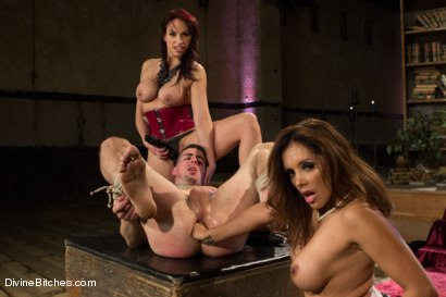 Photo number 13 from Two FEMDOM MILFs destroy 21 year old slaveboy! shot for Divine Bitches on Kink.com. Featuring Tyler Alexander, Francesca Le  and Nicki Hunter in hardcore BDSM & Fetish porn.