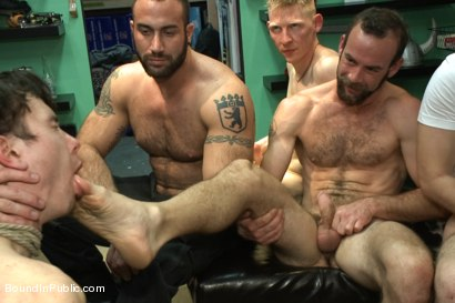 Photo number 13 from Horny crowd jumps on a ripped stud in a skate shop shot for Bound in Public on Kink.com. Featuring Rob Yaeger, Kevin Case and Spencer Reed in hardcore BDSM & Fetish porn.
