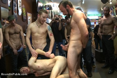 Photo number 11 from Horny crowd jumps on a ripped stud in a skate shop shot for Bound in Public on Kink.com. Featuring Rob Yaeger, Kevin Case and Spencer Reed in hardcore BDSM & Fetish porn.