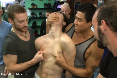 Photo number 4 from Horny crowd jumps on a ripped stud in a skate shop shot for Bound in Public on Kink.com. Featuring Rob Yaeger, Kevin Case and Spencer Reed in hardcore BDSM & Fetish porn.