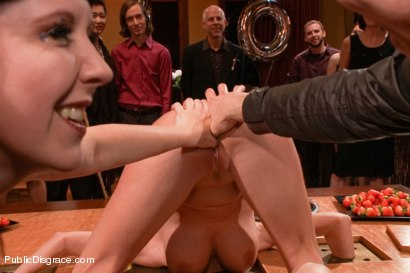 Photo number 2 from Busty Blonde Bombshell Bent Doggy Style and Fucked shot for Public Disgrace on Kink.com. Featuring Mark Wood and Riley Evans in hardcore BDSM & Fetish porn.
