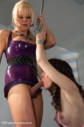 Photo number 4 from Tied Up Bonnie Made to Suck Ts Cock: A Bondage Update shot for TS Pussy Hunters on Kink.com. Featuring Joanna Jet and Bonnie Day in hardcore BDSM & Fetish porn.