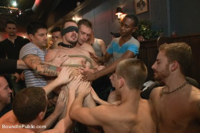 Photo number 2 from Stud in a metal cage is fucked by horny bar patrons shot for Bound in Public on Kink.com. Featuring Kirk Cummings, Jacques LaVere and Cole Streets in hardcore BDSM & Fetish porn.
