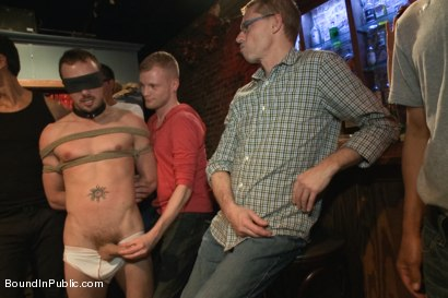 Photo number 1 from Stud in a metal cage is fucked by horny bar patrons shot for Bound in Public on Kink.com. Featuring Kirk Cummings, Jacques LaVere and Cole Streets in hardcore BDSM & Fetish porn.