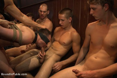 Photo number 13 from Stud in a metal cage is fucked by horny bar patrons shot for Bound in Public on Kink.com. Featuring Kirk Cummings, Jacques LaVere and Cole Streets in hardcore BDSM & Fetish porn.