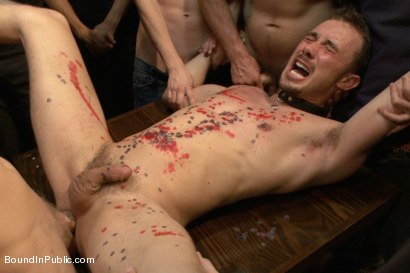 Photo number 13 from Kirk Cummings is beaten, humiliated and fucked in a crowded bar shot for Bound in Public on Kink.com. Featuring Kirk Cummings, Jacques LaVere and Cole Streets in hardcore BDSM & Fetish porn.