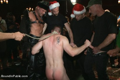 Photo number 2 from Happy Holidays! shot for Bound in Public on Kink.com. Featuring Girth Brooks, Chad Brock and Blake Daniels in hardcore BDSM & Fetish porn.