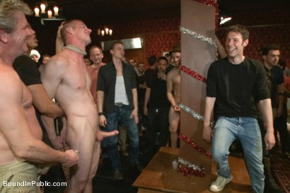 Photo number 1 from Happy Holidays! shot for Bound in Public on Kink.com. Featuring Girth Brooks, Chad Brock and Blake Daniels in hardcore BDSM & Fetish porn.