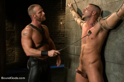 Photo number 3 from Jessie Colter welcomes Alan Ladd the new master of the house shot for Bound Gods on Kink.com. Featuring Alan Ladd and Jessie Colter in hardcore BDSM & Fetish porn.