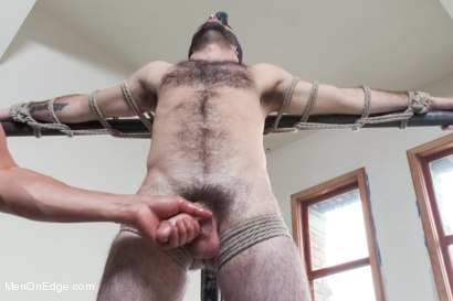 Photo number 5 from Hot Hairy Stud Tied up and Edged for first time shot for Men On Edge on Kink.com. Featuring Josh Long in hardcore BDSM & Fetish porn.