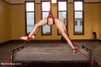 Photo number 14 from Hot Hairy Stud Tied up and Edged for first time shot for Men On Edge on Kink.com. Featuring Josh Long in hardcore BDSM & Fetish porn.