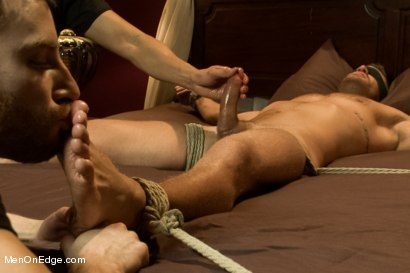 Photo number 14 from Super hunk Landon Conrad tied up and edged for the very first time shot for Men On Edge on Kink.com. Featuring Landon Conrad in hardcore BDSM & Fetish porn.