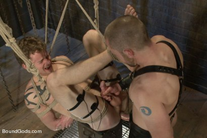 Photo number 14 from Perverted Leather Daddy and His Helpless Captive shot for Bound Gods on Kink.com. Featuring Adam Herst and Cole Brooks in hardcore BDSM & Fetish porn.