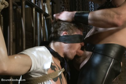 Photo number 3 from Perverted Leather Daddy and His Helpless Captive shot for Bound Gods on Kink.com. Featuring Adam Herst and Cole Brooks in hardcore BDSM & Fetish porn.
