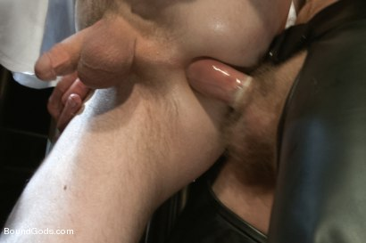 Photo number 4 from Perverted Leather Daddy and His Helpless Captive shot for Bound Gods on Kink.com. Featuring Adam Herst and Cole Brooks in hardcore BDSM & Fetish porn.