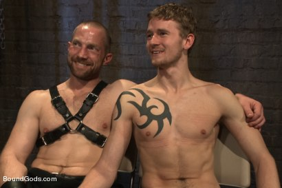 Photo number 15 from Perverted Leather Daddy and His Helpless Captive shot for Bound Gods on Kink.com. Featuring Adam Herst and Cole Brooks in hardcore BDSM & Fetish porn.