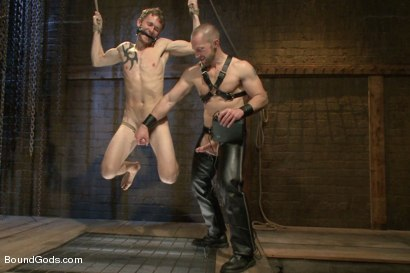 Photo number 8 from Perverted Leather Daddy and His Helpless Captive shot for Bound Gods on Kink.com. Featuring Adam Herst and Cole Brooks in hardcore BDSM & Fetish porn.