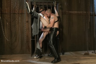 Photo number 5 from Perverted Leather Daddy and His Helpless Captive shot for Bound Gods on Kink.com. Featuring Adam Herst and Cole Brooks in hardcore BDSM & Fetish porn.