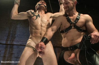 Photo number 7 from Perverted Leather Daddy and His Helpless Captive shot for Bound Gods on Kink.com. Featuring Adam Herst and Cole Brooks in hardcore BDSM & Fetish porn.