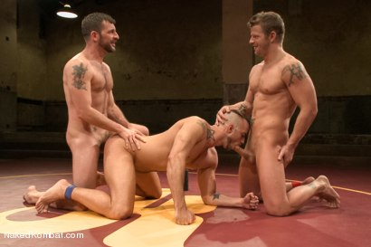 """Photo number 13 from Jessie """"Cut-Throat"""" Colter vs Jeremy """"Stonewall"""" Stevens  <br /> The Muscle Match! shot for Naked Kombat on Kink.com. Featuring Jeremy Stevens and Jessie Colter in hardcore BDSM & Fetish porn."""