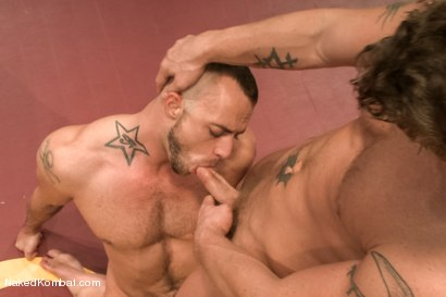 """Photo number 12 from Jessie """"Cut-Throat"""" Colter vs Jeremy """"Stonewall"""" Stevens  <br /> The Muscle Match! shot for Naked Kombat on Kink.com. Featuring Jeremy Stevens and Jessie Colter in hardcore BDSM & Fetish porn."""