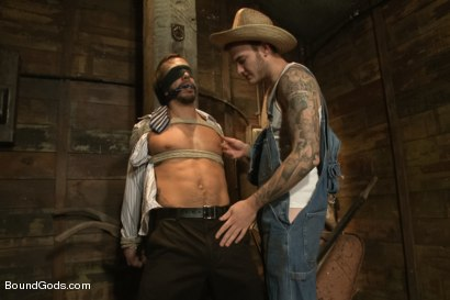 Photo number 1 from Farmer Christian Wilde and The Sleazy City Slicker  shot for Bound Gods on Kink.com. Featuring Christian Wilde and Bryan Cole in hardcore BDSM & Fetish porn.