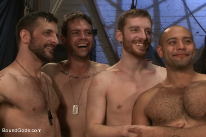 Photo number 15 from Hikers or Spies - The audience hands out the verdict shot for Bound Gods on Kink.com. Featuring Morgan Black, Leo Forte, Van Darkholme, Sebastian Keys, John Jammen and Scratch in hardcore BDSM & Fetish porn.