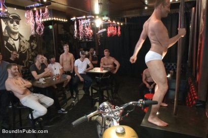 Photo number 1 from The Feisty Slut Go-Go Dancer shot for Bound in Public on Kink.com. Featuring Jeremy Stevens, Everett Jagger and Cole Streets in hardcore BDSM & Fetish porn.