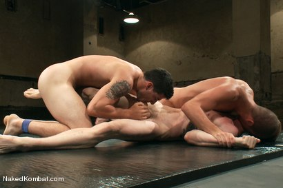 Photo number 9 from Mini Tournament NK Style - Tag Team  shot for Naked Kombat on Kink.com. Featuring Leo Forte, Blake Daniels, Tanner Wayne and Tyler Alexander in hardcore BDSM & Fetish porn.