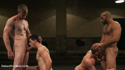 Photo number 13 from Mini Tournament NK Style - Tag Team  shot for Naked Kombat on Kink.com. Featuring Leo Forte, Blake Daniels, Tanner Wayne and Tyler Alexander in hardcore BDSM & Fetish porn.