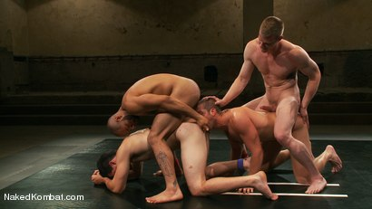 Photo number 8 from Mini Tournament NK Style - Tag Team  shot for Naked Kombat on Kink.com. Featuring Leo Forte, Blake Daniels, Tanner Wayne and Tyler Alexander in hardcore BDSM & Fetish porn.