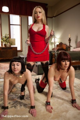 Photo number 1 from Lesbian Slave Training: Orientation Day shot for The Upper Floor on Kink.com. Featuring Coral Aorta, Odile and Aiden Starr in hardcore BDSM & Fetish porn.