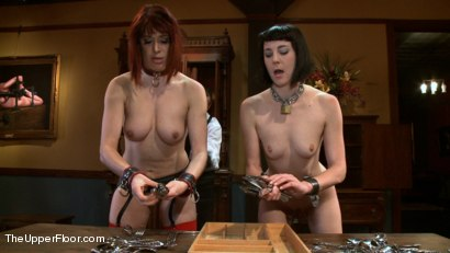 Photo number 1 from Slave Sex Brunch shot for The Upper Floor on Kink.com. Featuring Coral Aorta and Odile in hardcore BDSM & Fetish porn.