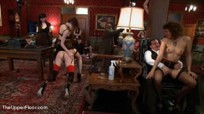 Photo number 7 from Slave Sex Brunch shot for The Upper Floor on Kink.com. Featuring Coral Aorta and Odile in hardcore BDSM & Fetish porn.