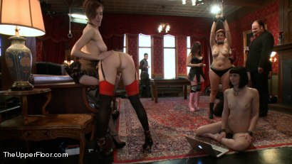 Photo number 6 from Slave Sex Brunch shot for The Upper Floor on Kink.com. Featuring Coral Aorta and Odile in hardcore BDSM & Fetish porn.