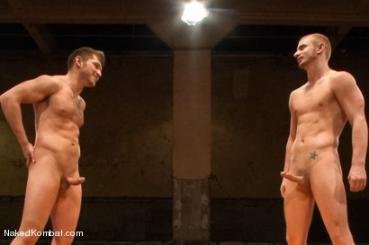 """Photo number 15 from Steve """"Single-Round"""" Sterling vs Randall """"The Rock"""" O'Reilly - Loser Gets Gang Fucked shot for Naked Kombat on Kink.com. Featuring Randall O'Reilly and Steve Sterling in hardcore BDSM & Fetish porn."""