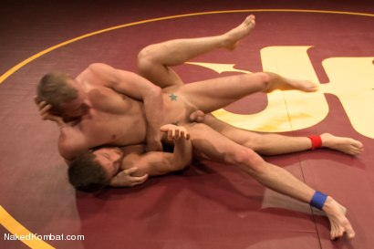 """Photo number 7 from Steve """"Single-Round"""" Sterling vs Randall """"The Rock"""" O'Reilly - Loser Gets Gang Fucked shot for Naked Kombat on Kink.com. Featuring Randall O'Reilly and Steve Sterling in hardcore BDSM & Fetish porn."""