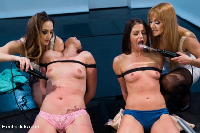 Photo number 1 from Fresh, Young, Natural, and Ready for an Electro-Fucking! shot for Electro Sluts on Kink.com. Featuring Lea Lexis, Chanel Preston, Mia Gold and Josi Valentine in hardcore BDSM & Fetish porn.